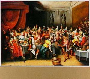 Tijdens de maaltijd van Belsassar, waarop het tempelgerei ontheiligd wordt, verschijnt een hand, die schrijft op de muur  (Daniel 5:5)