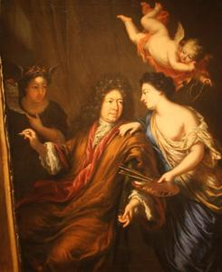 Zelfportret van David Klöcker Ehrenstrahl (1628-1698) met allegorische figuren
