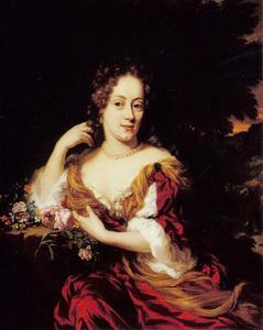 Portret van een vrouw zittend in een landschap
