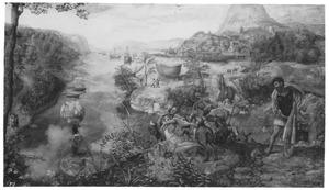 Bergachtig rivierlandschap met episoden uit de legende van de H. Christoforus