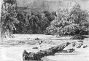 Rivierlandschap met stroomversnelling in de omgeving van Tivoli