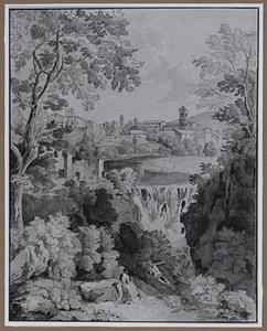 Italiaans rivierlandschap met waterval