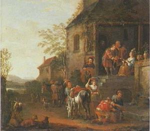 Het vertrek van Tobias en Sara uit Raguëls huis (Tobit 10:11)