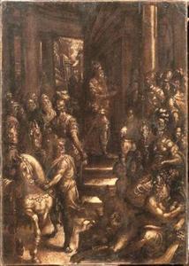 Een keizer sluit de deur van de  tempel van Janus in Rome, allegorie van Vrede