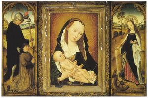 H. Willem van Maleval met stichter (links), Maria met kind (midden), de H. Catharina (rechts) (in gesloten toestand: de HH. Hieronymus (links) en Agnes (rechts), in grisaille)