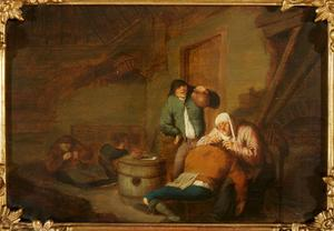 Luizende boeren in een interieur; allegorie op het Gezicht