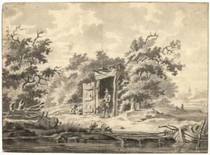 Boomrijk landschap met een man met een mand bij een hut