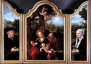 Portret van een stichter (binnenzijde links), de H. Familie tijdens de rust op de vlucht naar Egypte (midden), portret van een stichtster (binnenzijde rechts)