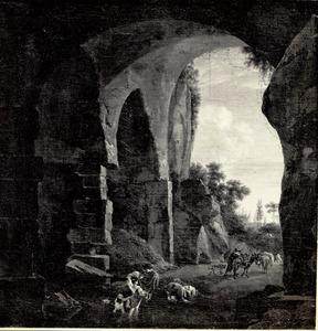 Gezicht in een ruïne met reizigers bij een doorwaadbare plaats