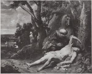 De Barmhartige Samaritaan verzorgt de wonden van de gewonde reiziger