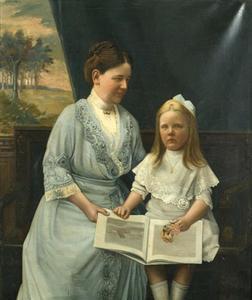 Portret van koningin Wilhelmina (1880-1906) en prinses Juliana (1909-2004)