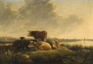Rivierlandschap met vee