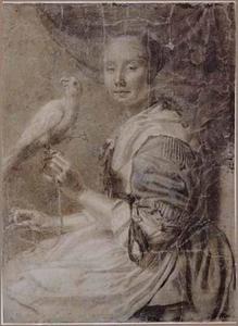 Portret van een vrouw met papegaai