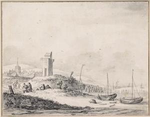 Strandgezicht met vuurtoren bij een dorp, waarschijnlijk Katwijk aan Zee