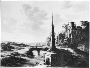 Zuidelijk landschap met grafmonument