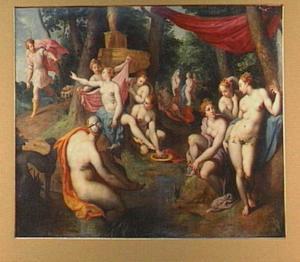 Diana en haar gezellinnen door Actaeon verrast