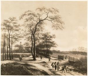 Landschap met jagers bij een openstaand hek