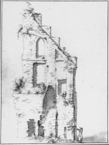 De ruïne van de abij van Rijnsburg, binnenkant van de noordgevel van het 'Groothuis' gezien vanuit het zuiden