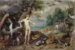 Adam als de rentmeester over flora en fauna in het Paradijs(Genesis 2:15)