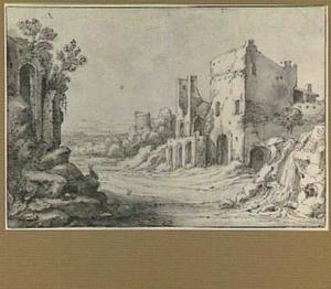 Italiaans ruïnelandschap met ronde tempel, geïnspireerd op de tempel van de Sibylle in Tivoli, en motieven uit de ruïne van de Abdij te Rijnsburg