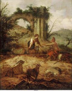 Zuidelijk landschap met herder en herderin bij een ruïne