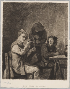 Drie rokende boeren in een interieur