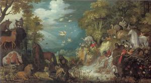 Boslandschap met Orfeus vioolspelend temidden van de dieren