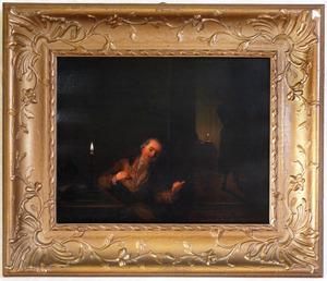 Man en vrouw in een interieur, bij kaarslicht