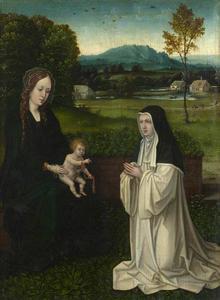 Maria met kind en een non