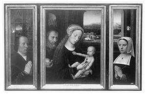 Portret van de stichter (binnenzijde linkerluik), de Heilige Familie (middenpaneel), portret van de stichtster (binnenzijde rechterpaneel)