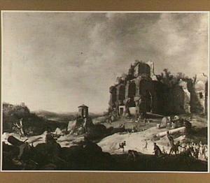 Zuidelijk landschap met ruïne; op de voorgrond de steniging van Stefanus