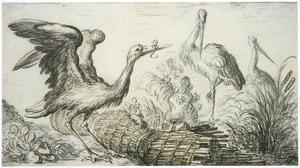 Drie ooievaars bij een brandende visfuik