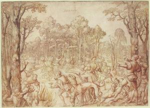 Keizer Maximiliaan en zijn gezelschap aan een jachtmaaltijd: de maand juni