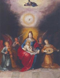 Maria met het kind en de Drieënheid, aanbeden door musicerende engelen
