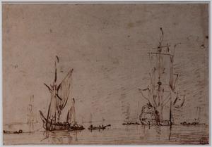 Driemaster en andere schepen op zee