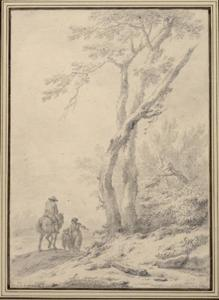 Ruiter en wandelaars bij een rivier