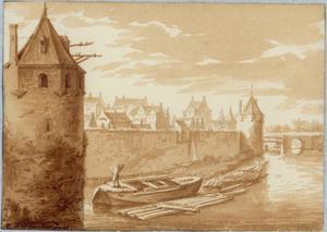 De stadsmuur van Utrecht met waltorens De Leeuw (links) en De Bok (rechts), en de Weerdpoort