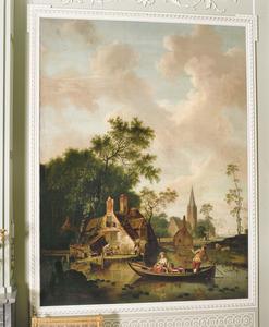 Landschap met huisjes en melkmeid in een boot