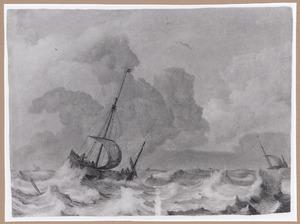 Schepen op stormachtige zee