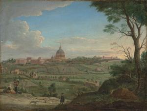 Zicht op de Sint-Pietersbasiliek en het Vaticaan, Rome van het noorden
