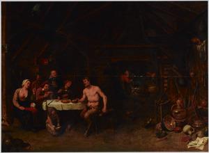 Interieur met de Sater en de boer (Aesopus)