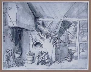 Interieur van een boerderij met figuren