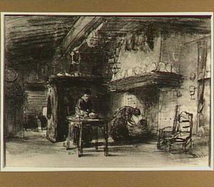 Boerenbinnenhuis met twee vrouwen