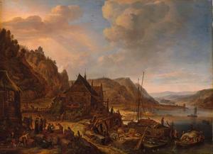 Rijnlandschap met wijnmakerij en herberg