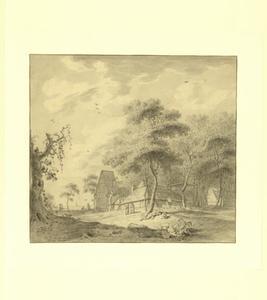 Landschap met boerenhuis, hooimijt en figuren