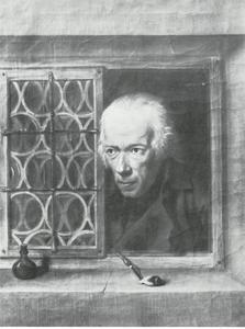Oude man aan het venster