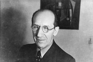Piet Mondriaan in het atelier van Harry Holtzman