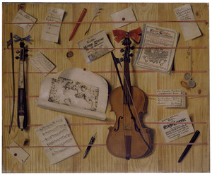 Trompe l'oeil brievenbord met een viool een zakviool, bladmuziek en brieven