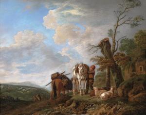 Italianiserend landschap met herders, paarden en schapen