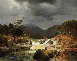 Noors berglandschap met een vos bij een bergbeek